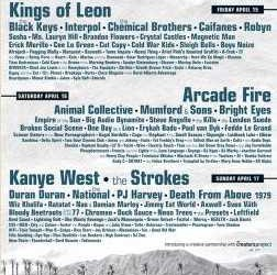 The Coachella Music Festival lineup for 2011 has been announced! There&#8217;s lots to like, including Arcade Fire, Chemical Brothers, Interpol, Black Keys, Kings of Leon, Bright Eyes, Mumford and Sons,...